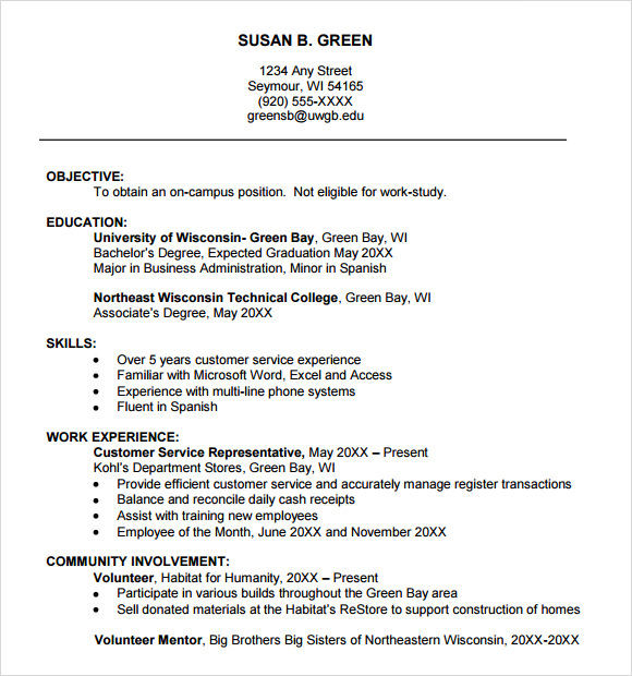 free sample college resume templates in ms word pdf examples freshman template for job Resume Resume Examples College Freshman