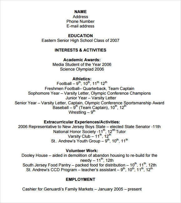 free sample college resume templates in pdf ms word high school for application template Resume High School Resume For College Application