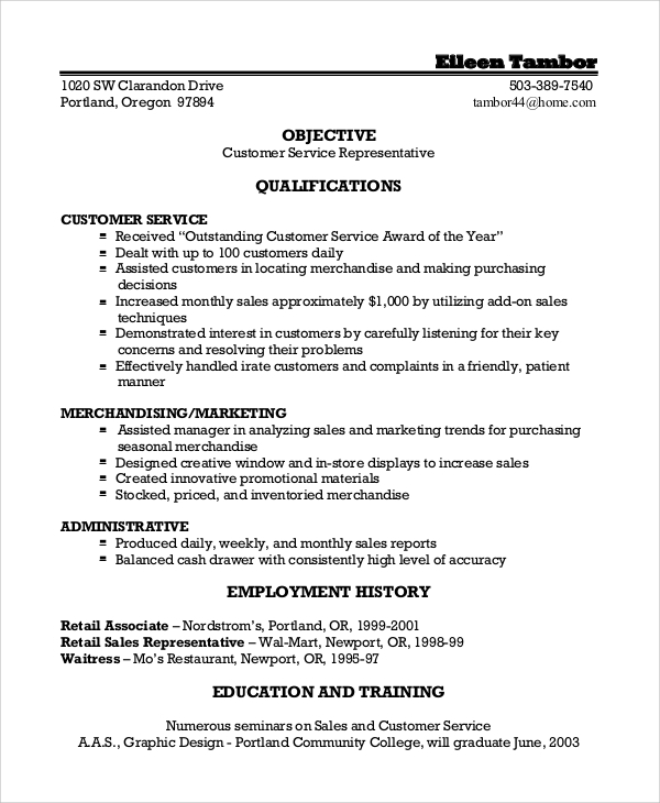 free sample customer service objective templates in pdf ms word resume examples assistant Resume Resume Examples Customer Service Objective