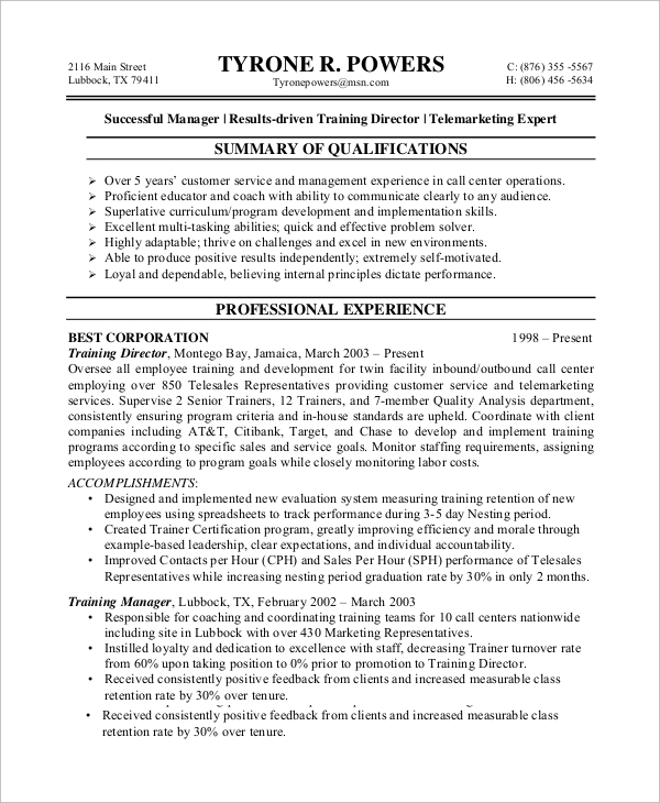 free sample customer service resume templates in ms word pdf professional telemarketing Resume Professional Telemarketing Resume