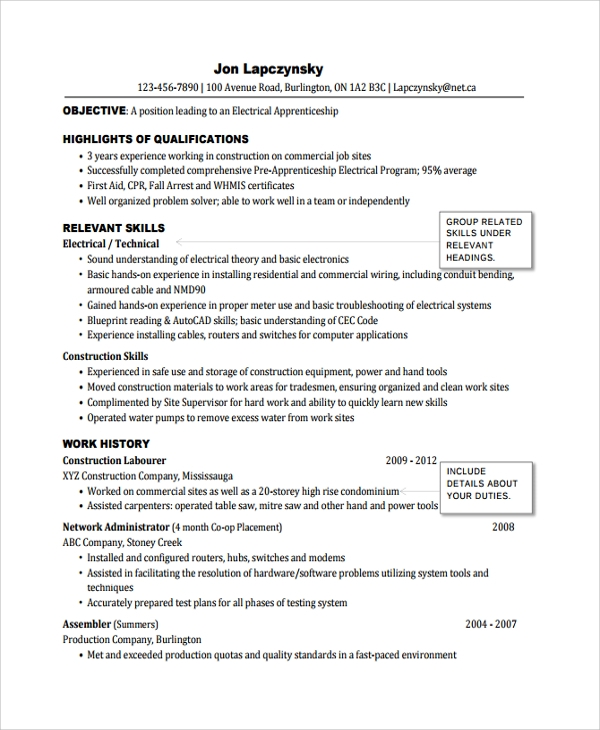 free sample electrician resume templates in pdf ms word format software developer indian Resume Electrician Resume Word Format