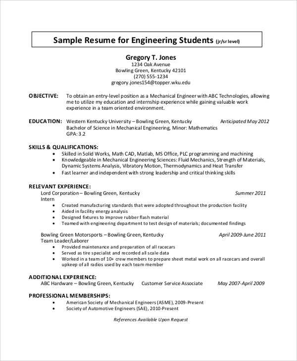 free sample engineering cv templates in pdf ms word student resume template executive Resume Engineering Student Resume Template