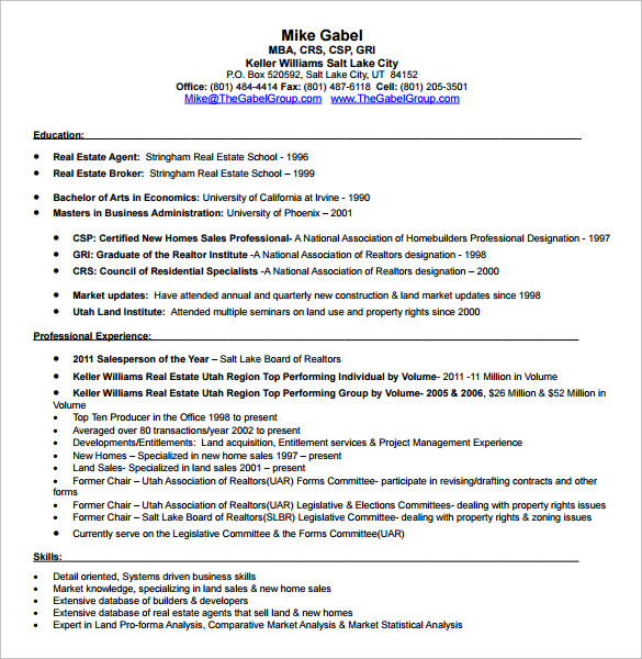 free sample estate resume templates in pdf ms word examples customer service specialist Resume Real Estate Resume Examples Free