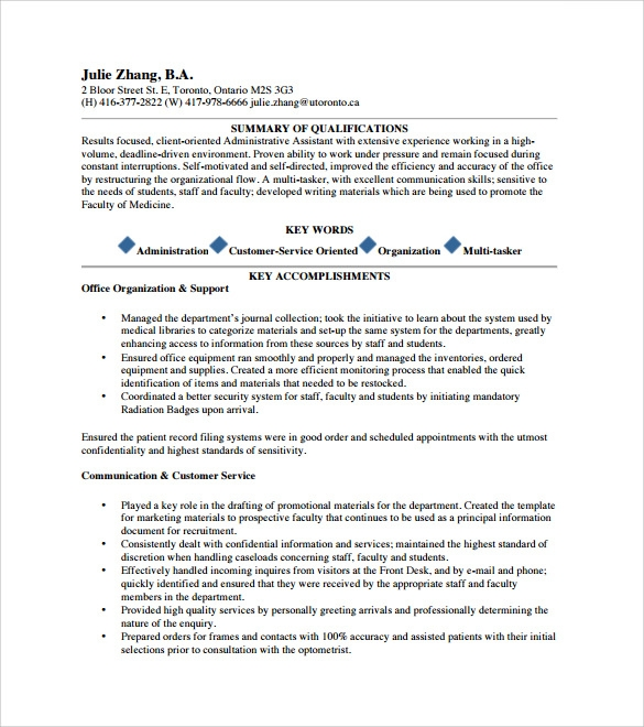 free sample executive assistant resume templates in pdf functional template for Resume Functional Resume Template For Administrative Assistant