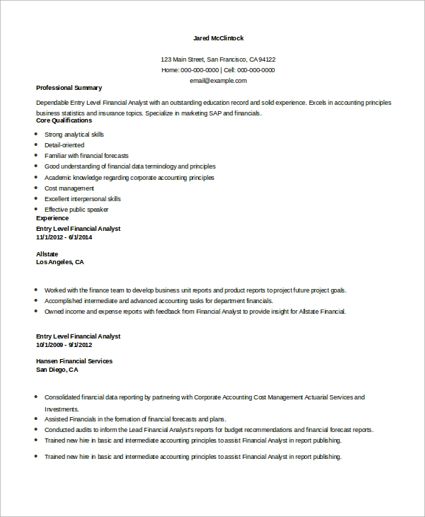 free sample financial analyst resume templates in ms word pdf objective entry level Resume Financial Analyst Resume Objective