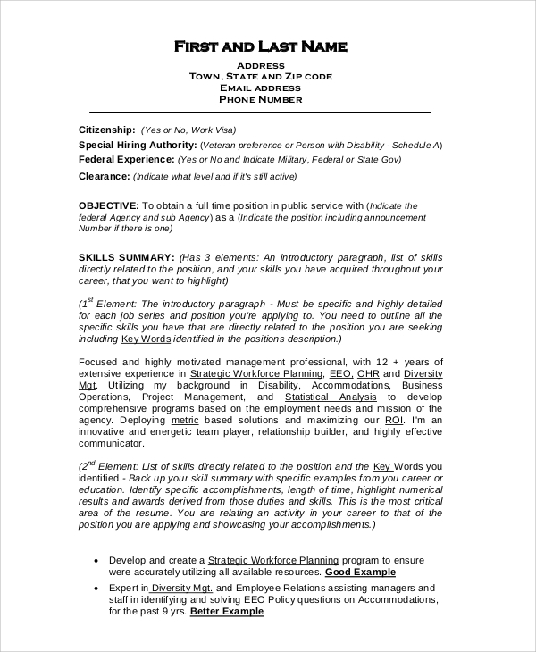 free sample format for resume templates in pdf ms word federal template entry level Resume Free Federal Resume Template