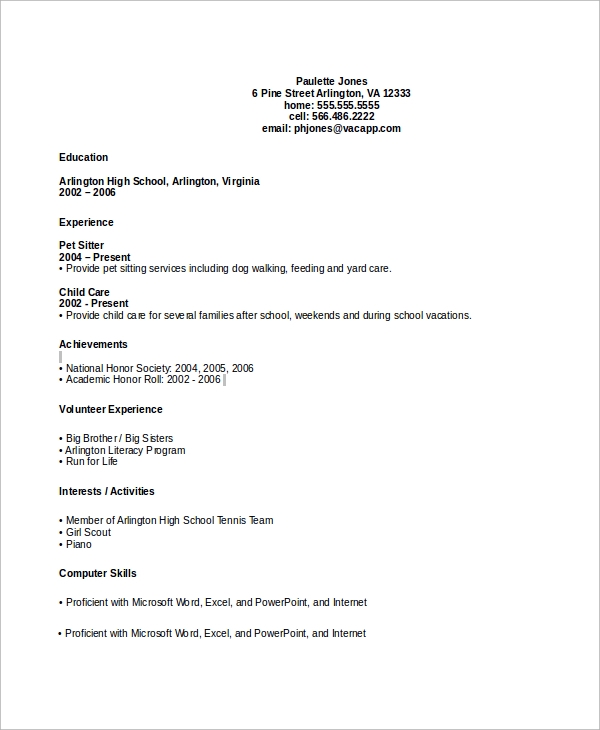 free sample high school cv templates in ms word pdf resume without experience dental Resume Resume Without Experience