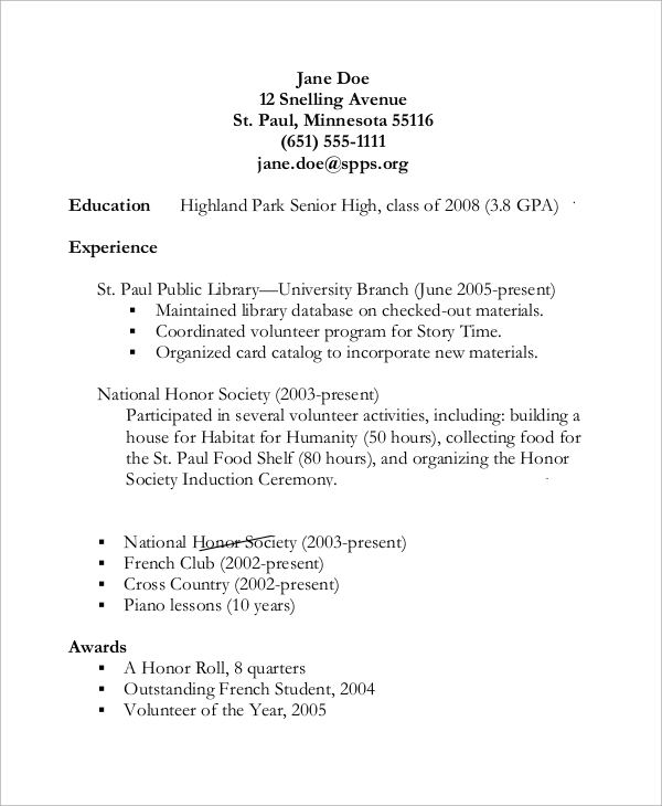 free sample high school resume templates in pdf ms word putting together great student Resume Putting Together A Great High School Resume