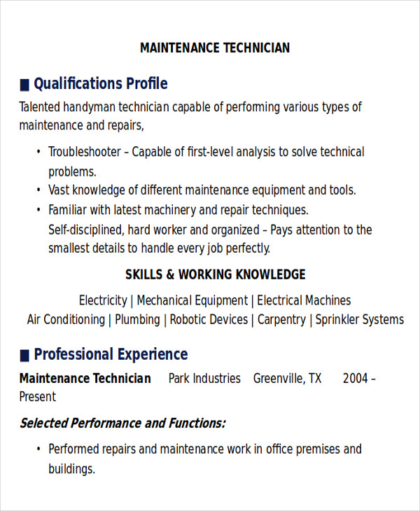 free sample maintenance technician resume templates in ms word pdf service professional Resume Free Maintenance Resume Templates