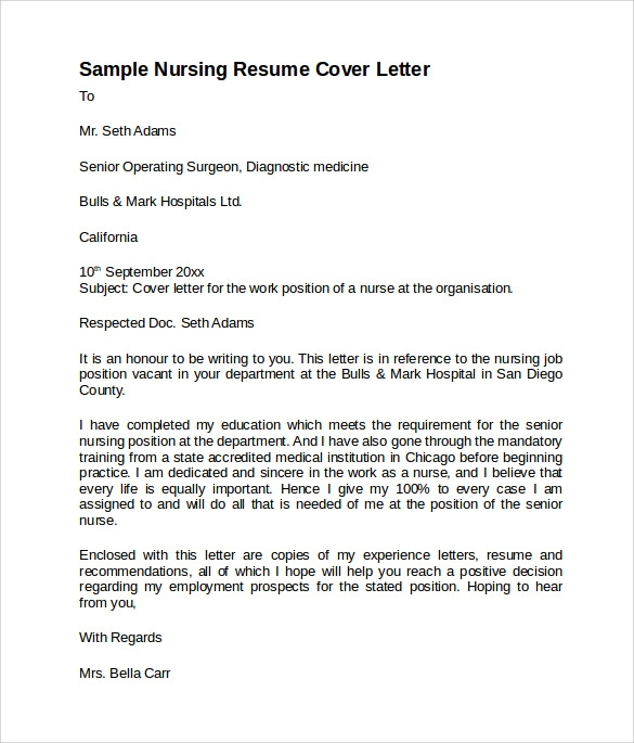free sample nursing cover letter templates in pdf resume template technical account Resume Nursing Resume Cover Letter