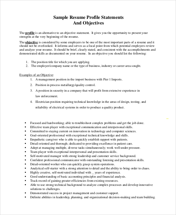 free sample objective statement resume templates in pdf with of purpose general good Resume Resume With Statement Of Purpose