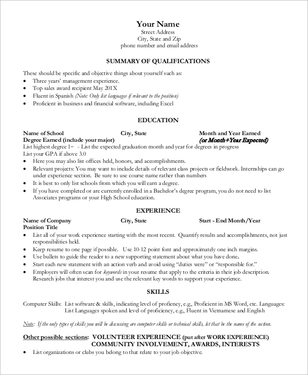 free sample one resume templates in ms word pdf microsoft template for freshers name Resume Microsoft Word One Page Resume Template