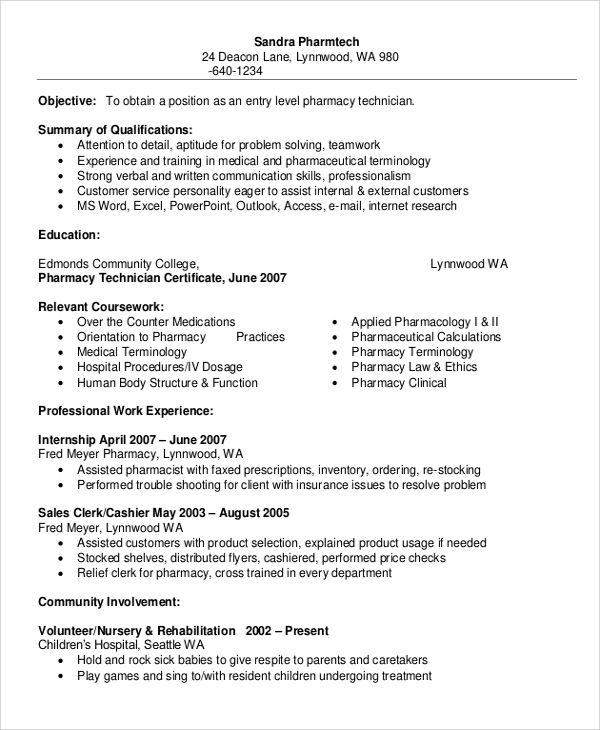 free sample pharmacy technician resume templates in ms word pdf for banking python pandas Resume Free Sample Resume For Pharmacy Technician