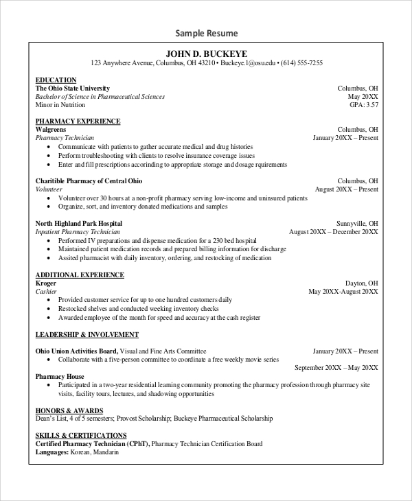 free sample pharmacy technician resume templates in ms word pdf for experienced hacer Resume Free Sample Resume For Pharmacy Technician