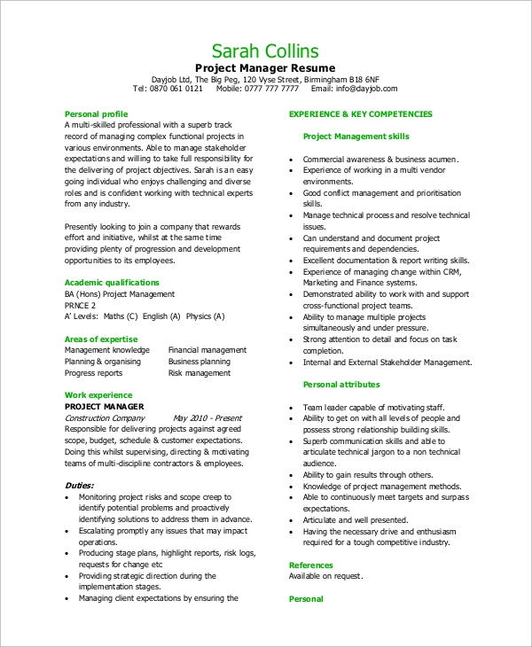 free sample project manager resume templates in pdf ms word format for experienced Resume Resume Format For Experienced Project Manager