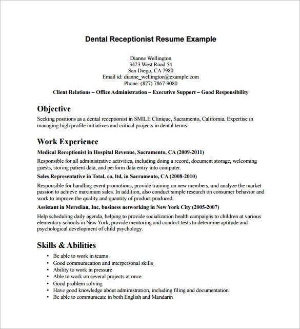 free sample receptionist resume templates in pdf ms word job objective for dental example Resume Receptionist Job Objective For Resume