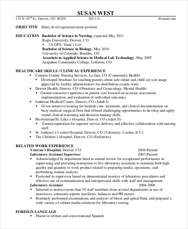 free sample registered nurse resume templates in ms word pdf for new graduate entry level Resume Sample Resume For New Graduate Registered Nurse