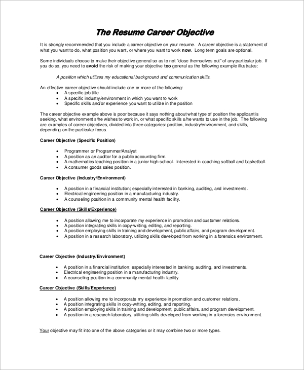 free sample resume objective examples in pdf for any position career example affordable Resume Resume Objective Examples For Any Position