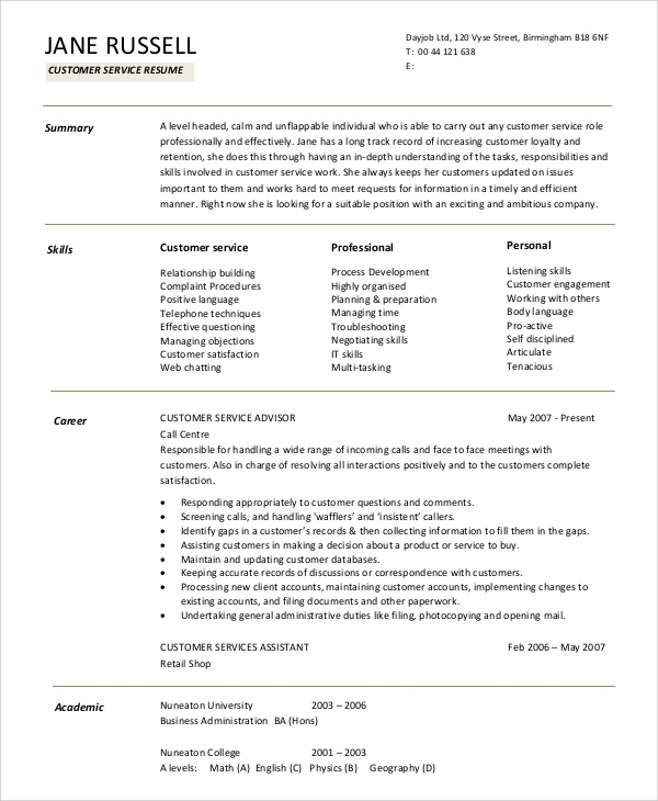 free sample resume summary statement templates in ms word pdf for students customer Resume Resume Summary Statement For Students