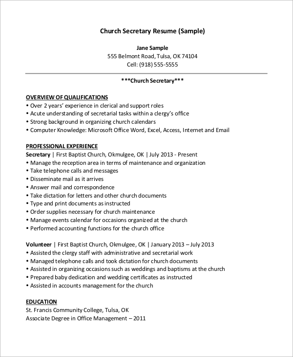 free sample secretary resume templates in ms word pdf administrative church Resume Administrative Secretary Resume