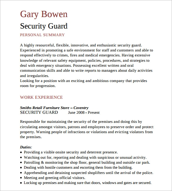 free sample security resume templates in pdf ms word personal guard summary examples for Resume Personal Security Resume
