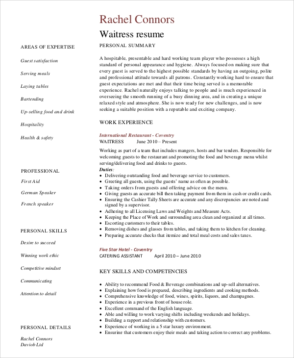 free sample server resume templates in ms word pdf waitress template restaurant quality Resume Waitress Resume Template Word