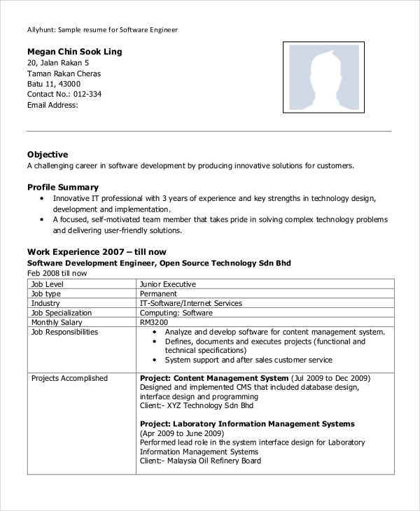 free sample software engineer resume templates in ms word pdf profile of an experienced Resume Software Engineer Profile Resume