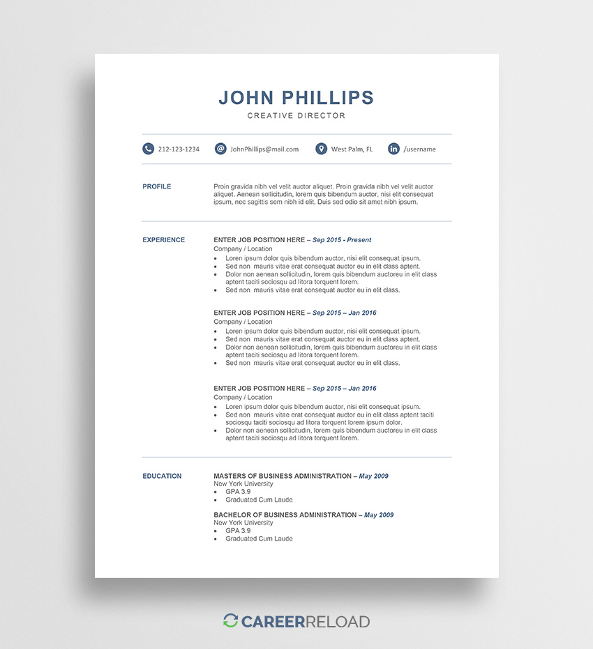 free word resume templates microsoft cv template john after maternity leave laminating Resume Free Resume Word Download