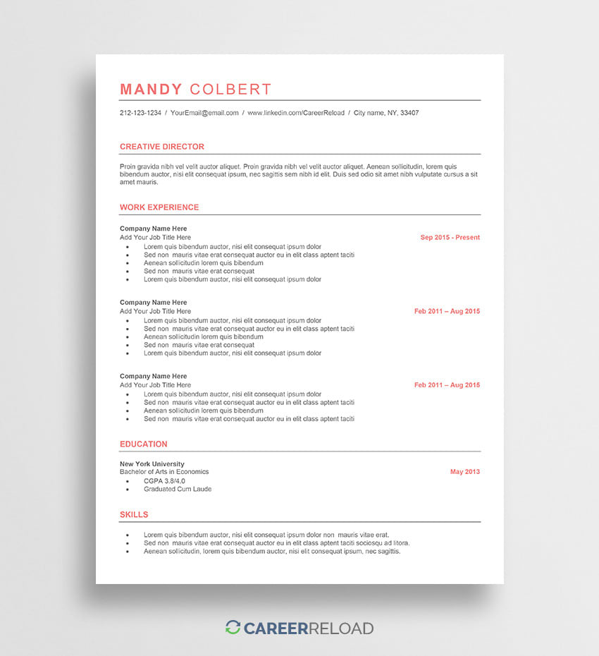 free word resume templates microsoft cv template mandy insurance verifier medical Resume Microsoft Resume Templates Free