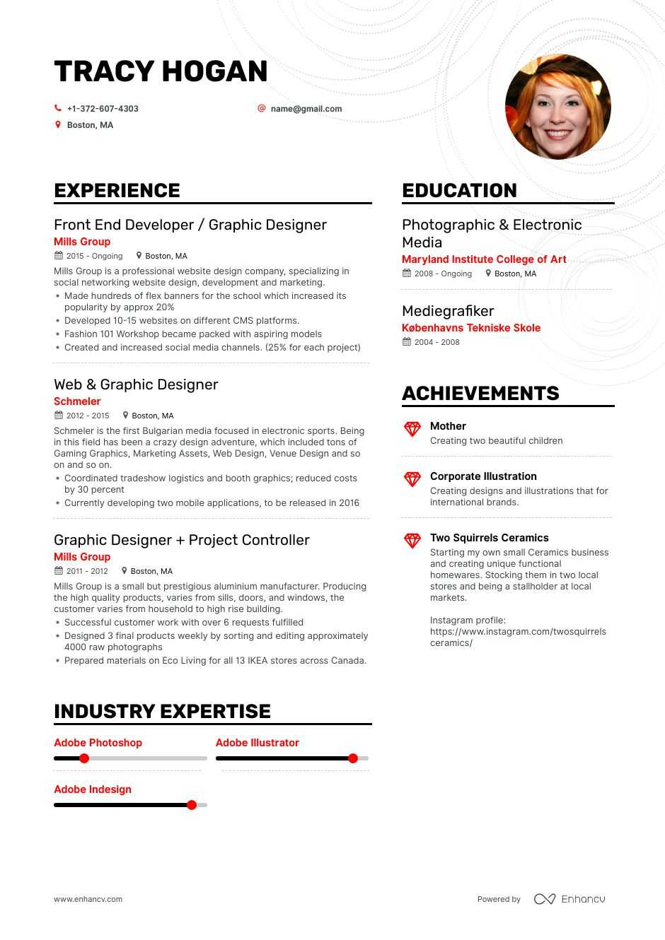 freelance graphic designer resume examples pro tips featured enhancv catchy objective for Resume Graphic Designer Resume