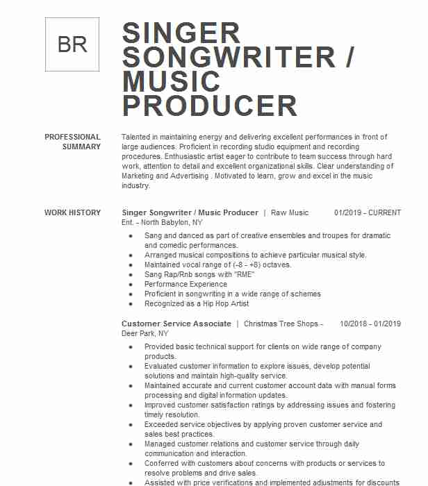 freelance singer songwriter resume example music producer cover letter generic good and Resume Freelance Music Producer Resume