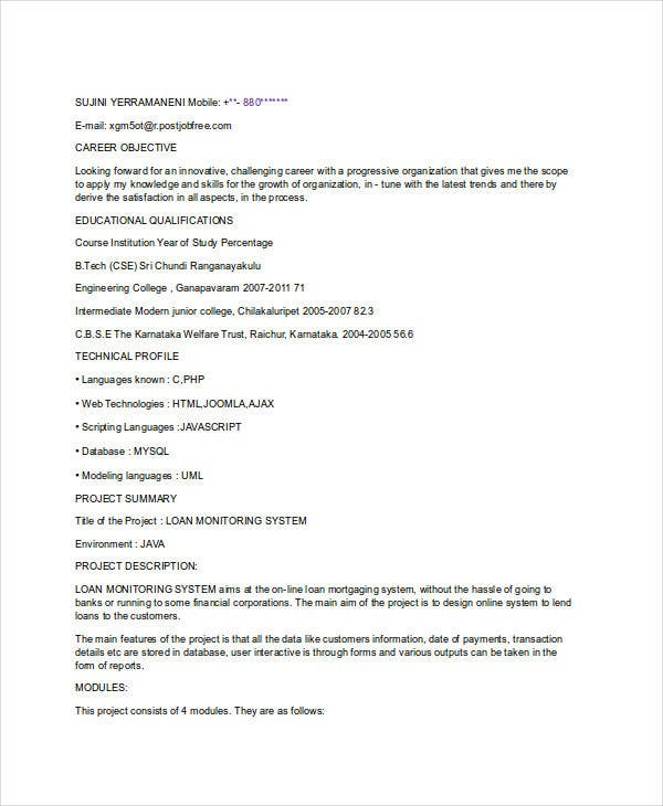 fresher resume templates pdf free premium for btech cse student sample of experienced Resume Resume For Btech Cse Student Fresher