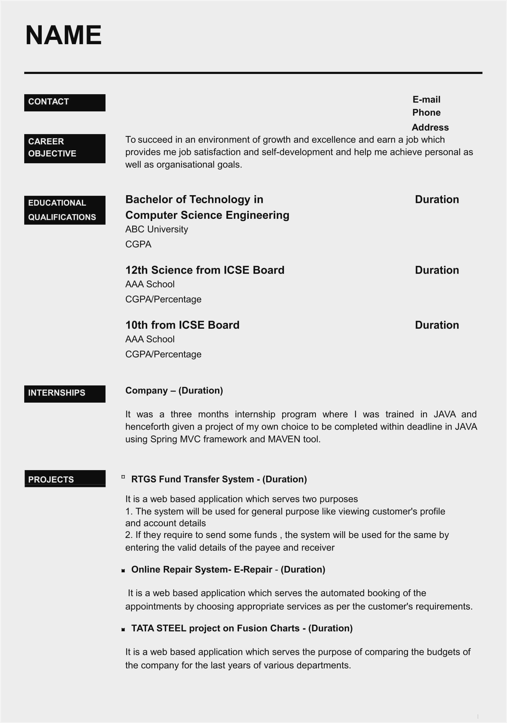 freshers resume model mca fresher format sample for engineers executive administrative Resume Mca Fresher Resume Format Download