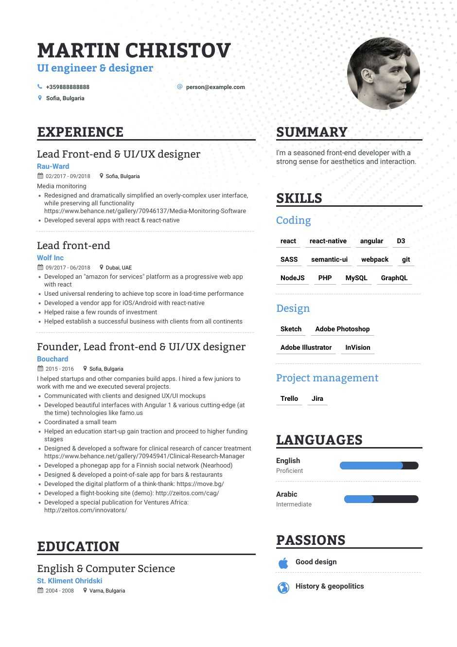 front end developer web resume sample engineer examples best format for project Resume Front End Engineer Resume Examples