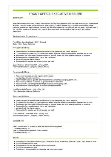 front office executive resume example desk responsibilities sample image healthcare Resume Front Desk Responsibilities Resume