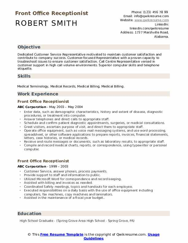 front office receptionist resume samples qwikresume desk responsibilities pdf format for Resume Front Desk Responsibilities Resume