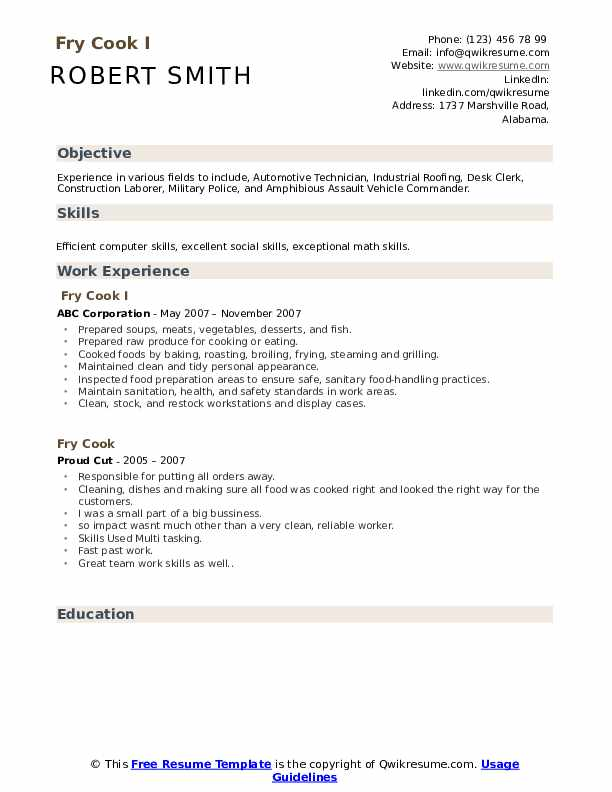 fry resume samples qwikresume responsibilities for pdf best medical assistant examples Resume Cook Responsibilities For Resume