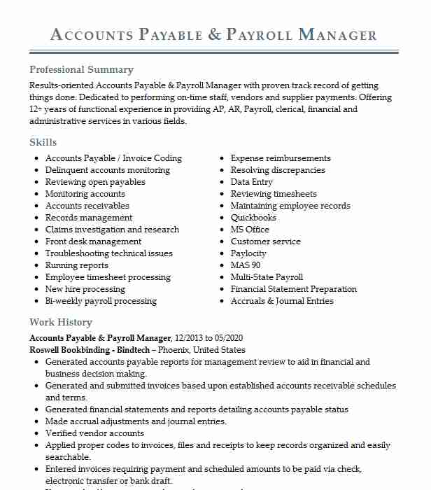 full cycle accounts payable and payroll resume example fletchline companies smithville Resume Full Cycle Accounts Payable Resume