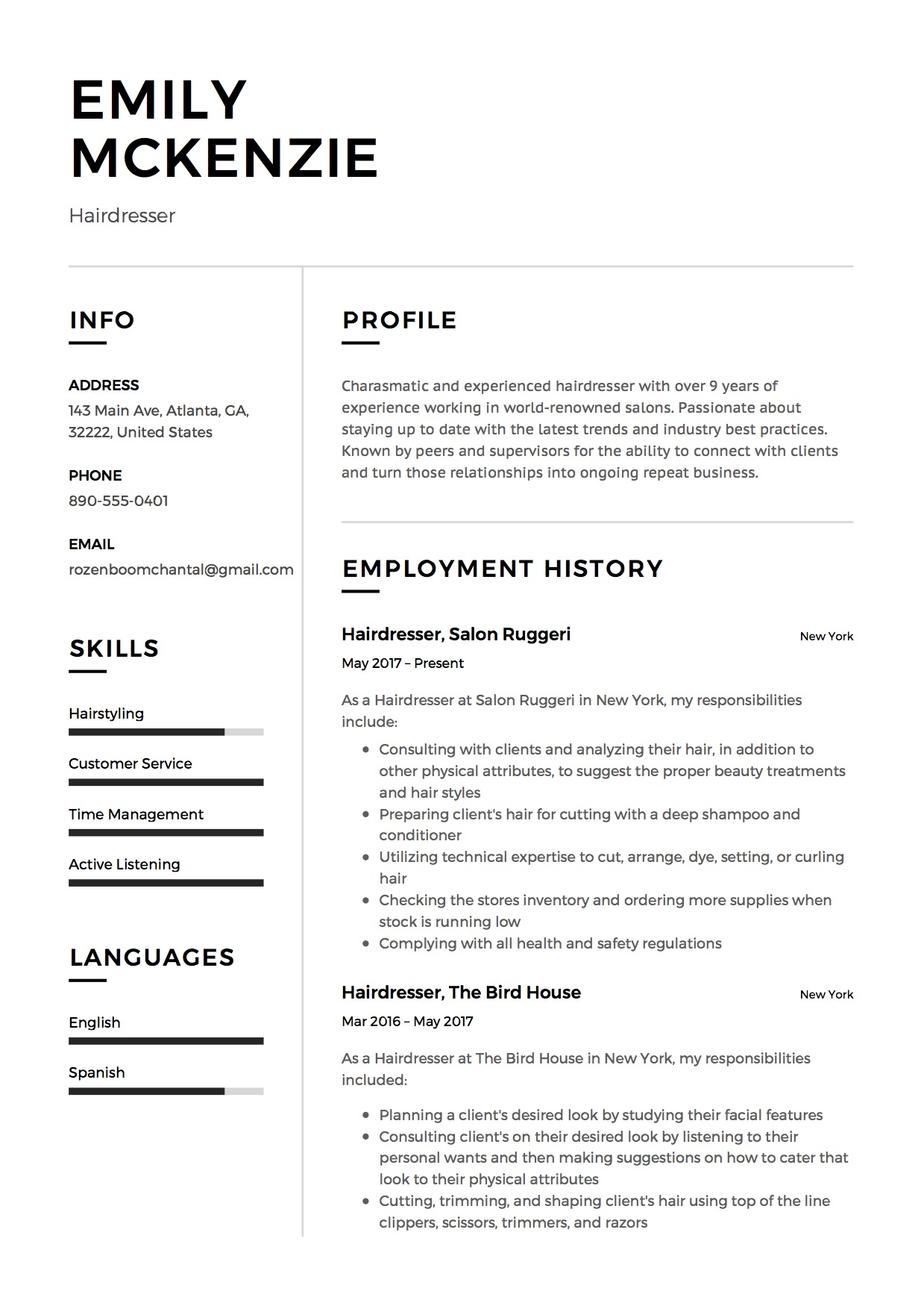 full guide hairdresser resume examples pdf experienced hair stylist emily objective Resume Experienced Hair Stylist Resume