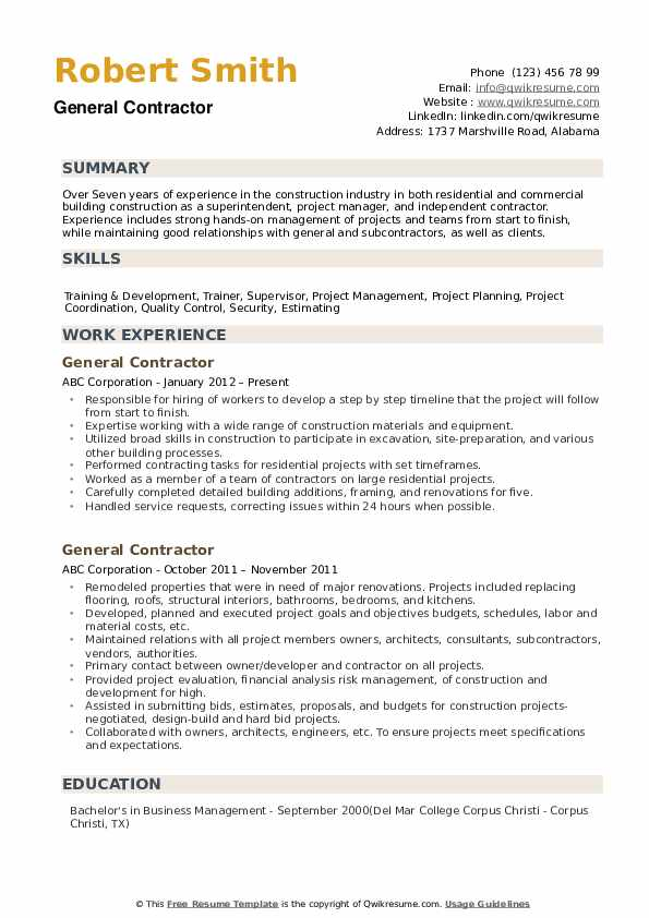 general contractor resume samples qwikresume summary for pdf donor relations microsoft Resume General Summary For Resume