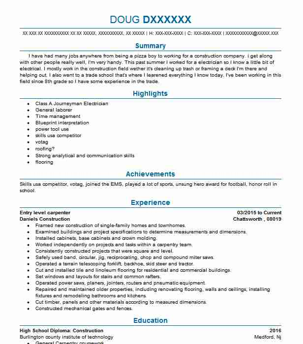 general labor entry level carpenter resume example first choice construction port orchard Resume Entry Level Construction Resume