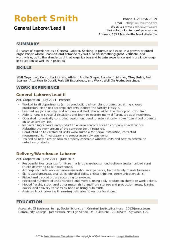 general laborer resume samples qwikresume summary for pdf procurement analyst donor Resume General Summary For Resume