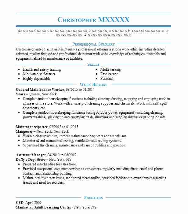 general maintenance worker resume example resumes livecareer skills for receptionist Resume Skills For Maintenance Worker Resume