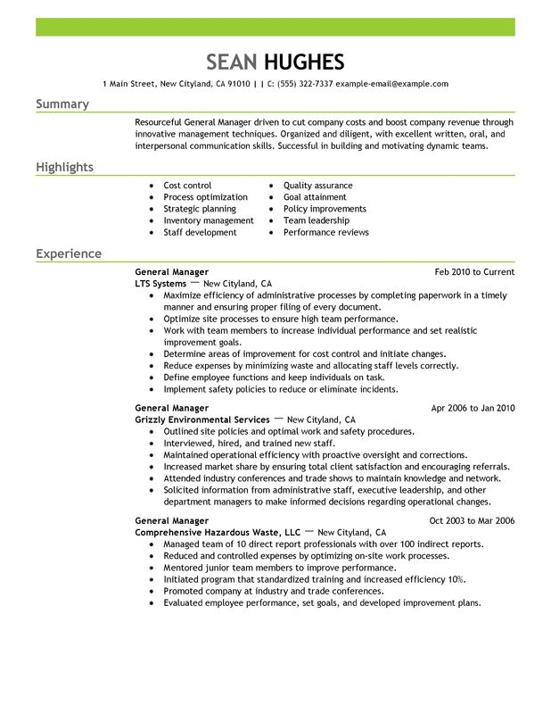general manager resume examples created by pros myperfectresume summary for management Resume General Summary For Resume
