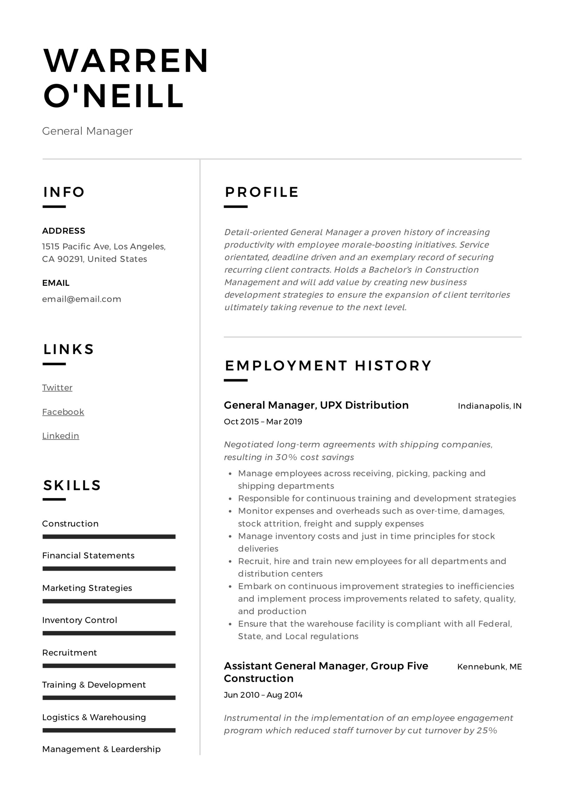 general manager resume writing guide examples pdf director level neill meaning crew Resume Director Level Resume Examples