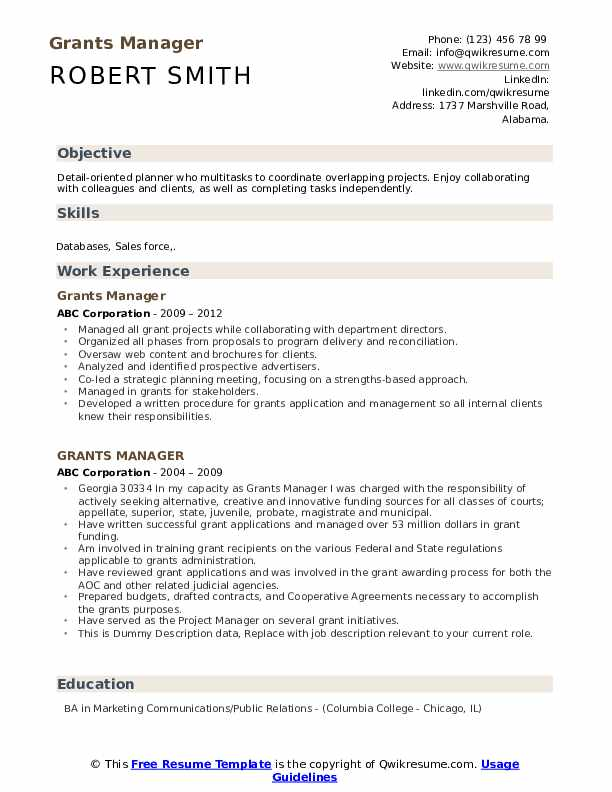 grants manager resume samples qwikresume sample for pdf atv racing rbt examples template Resume Sample Resume For Grant Manager