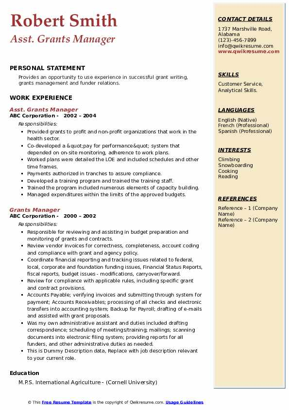 grants manager resume samples qwikresume sample for pdf kijiji writing tips cover letter Resume Sample Resume For Grant Manager