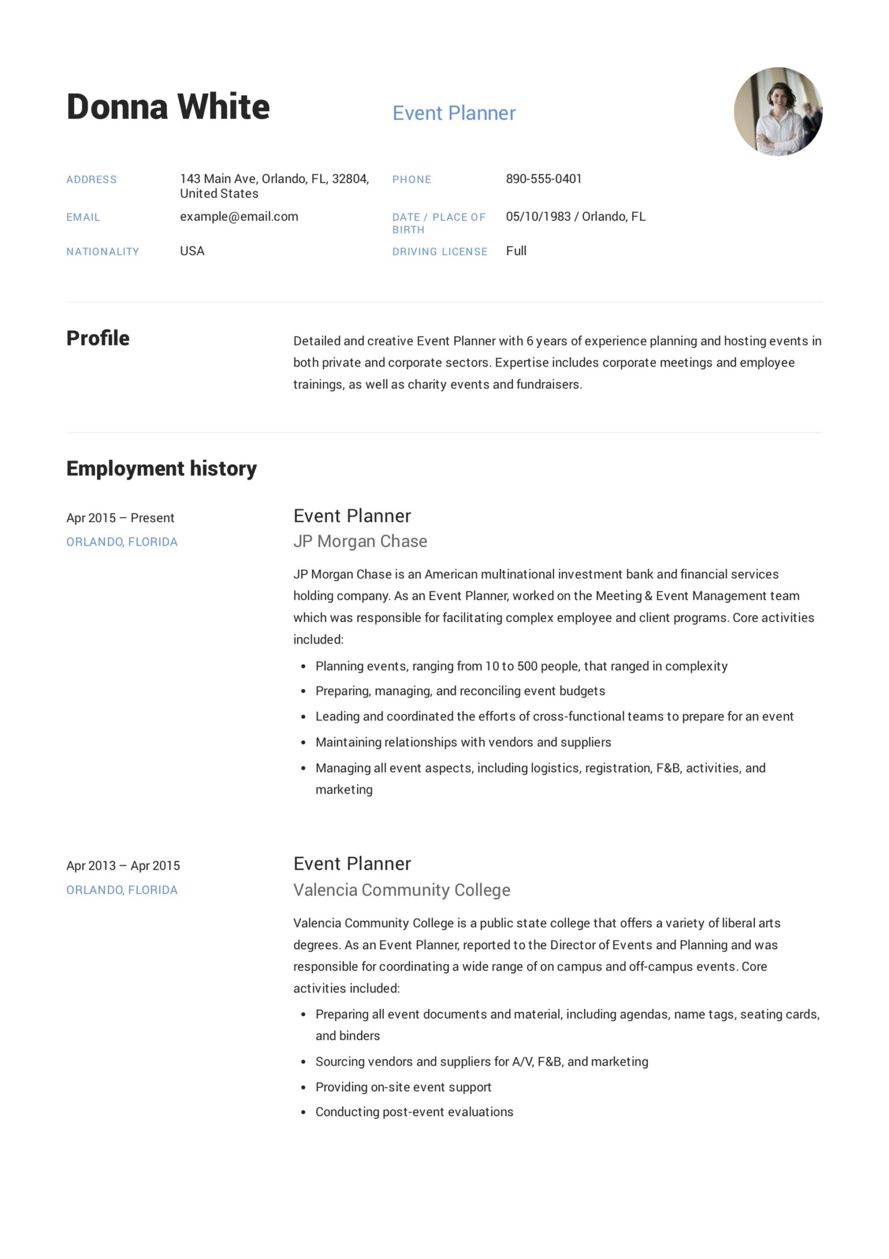 guide event planner resume samples pdf word management for freshers donna financial Resume Event Management Resume For Freshers