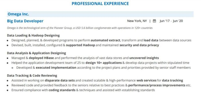 guide to writing an impeccable big data resume with examples samples for freshers Resume Resume Builder Warszawa