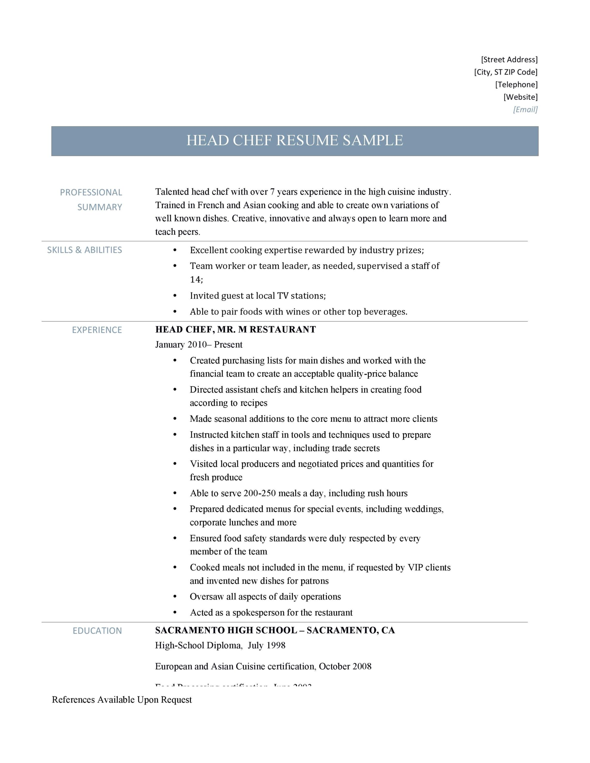 head chef resume samples and job description by builders medium summary examples Resume Chef Resume Summary Examples